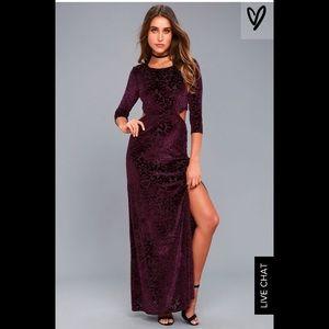 Lulus Perfect Night Plum Purple Velvet Maxi Dress
